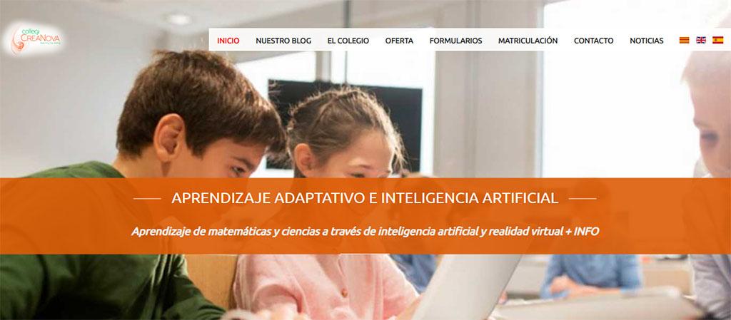Captura de la web del colegio CreaNova