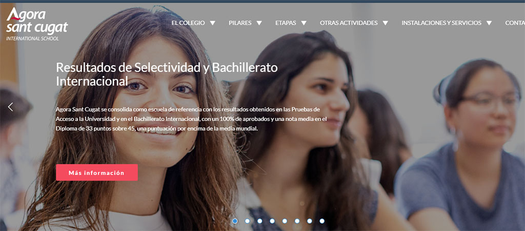 Captura de la web del colegio Agora Sant Cugat